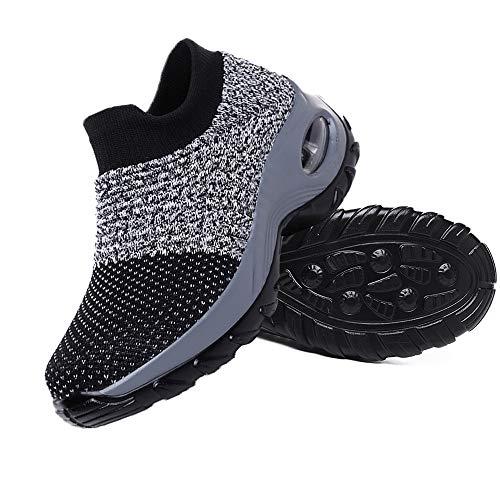 Juan - Zapatillas de deporte para mujer con plataforma de malla transpirable y cómoda, para caminar, correr, deportes, gimnasio, gris, 42