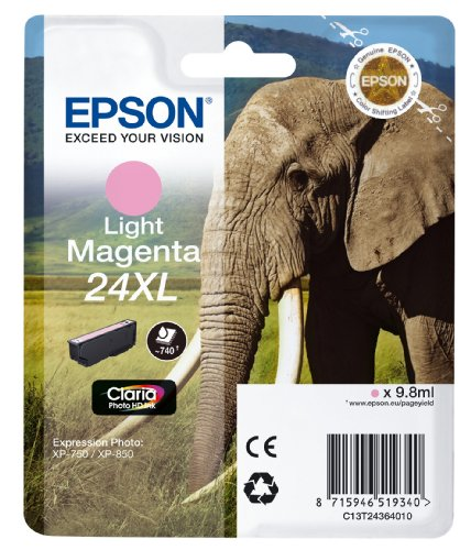 Epson Original 24XL Tinte Elefant (XP-750 XP-850 XP-950 XP-55 XP-760 XP-860 XP-960 XP-970, Amazon Dash Replenishment-fähig) hell magenta