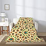 Orient Motif - Manta de franela de microfibra con diseño floral marroquí, de lujo, ligera, acogedora, cálida manta de aire acondicionado, 203 x 152 cm