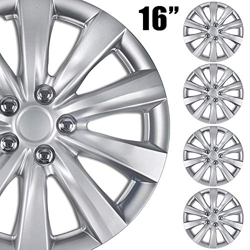 BDK (4-Pack Premium 16'' Wheel Rim Cover Hubcaps OEM Style for Toyota Camry Style Replacement Snap On Car Truck SUV Hub Cap - 16 Inch Set (KT-1038-16_df)