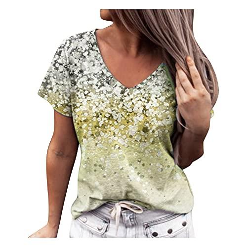 L9WEI letnia koszulka oversize, bluzka ze wzorem kwiatowym, modna koszulka z krótkim rękawem, damska luźna bluzka z dekoltem w serek, elegancka, oddychająca