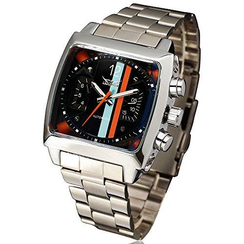 JARAGAR Reloj de diseño deportivo diseño de Rectángulo relogio correa de acero inoxidable para hombre relojes primera marca Luxury automático reloj de pulsera