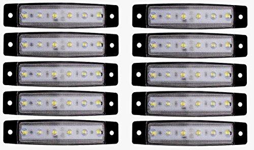 10 x 24 V Blanc SMD 6 LED Face avant Feux de gabarit position Camion Remorque Châssis de camion