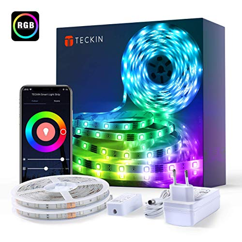 LED Strip,TECKIN 10M (2x5M) RGB Smart WiFi LED Streifen,APP Steuerbar 5050 LED Band Lichterkette für Haus, Küche, TV, Party,kompatibel mit Alexa, Google Assistant,Wasserdicht IP65 [Energieklasse A+++]