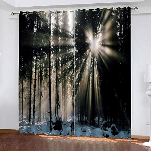 LOVEXOO curtain drapes Sunset landscape 28.54'x96.46' Blackout Curtains 2 Panels Set Thermal Insulated Window Treatment Solid Eyelet Darkening Curtain for Living Room Bedroom Nursery