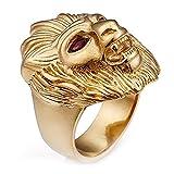 LANCHENEL Joyas Punk Rock Anillos de Oro Cabeza de león con Ojos Rojos y Cabeza de león