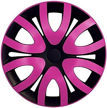 Eight Tec Handelsagentur Größe Wählbar 14 Zoll Radkappen Radzierblenden Mika Schwarz Pink Passend Für Fast Alle Fahrzeugtypen Universal Auto