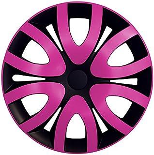 Eight Tec Handelsagentur (Größe wählbar) 14 Zoll Radkappen/Radzierblenden MIKA Schwarz/Pink passend für Fast alle Fahrzeugtypen – universal