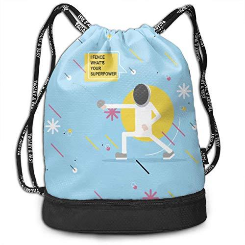 Sporttaschen, Rucksäcke,Girls & Boys Drawstring Sack Theft Proof Lightweight Beam Backpack, Traveling Shoulder Bags - Cute Fencing Blue Waterproof Backpack Soccer Basketball Bag