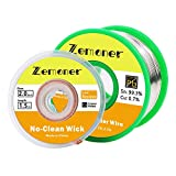 Zemoner 0.8mm Solder Wire Flux Rosin Core 100g with 2mm Solder Wicks No-Clean Solder Braided Wick for Electrical Soldering