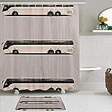 RUBEITA Juego de Cortinas y tapetes de Ducha de Tela,Transporte en Bus turístico,Cortinas de baño repelentes al Agua con 12 Ganchos, alfombras Antideslizantes