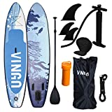 VINGO 330cm Aufblasbares SUP Stand-up Paddel Board 15cm Dickes, ISUP Paddle Board mit Doppelhub-Pumpe verstellbares Paddle Bis 200 kg Tragkraft