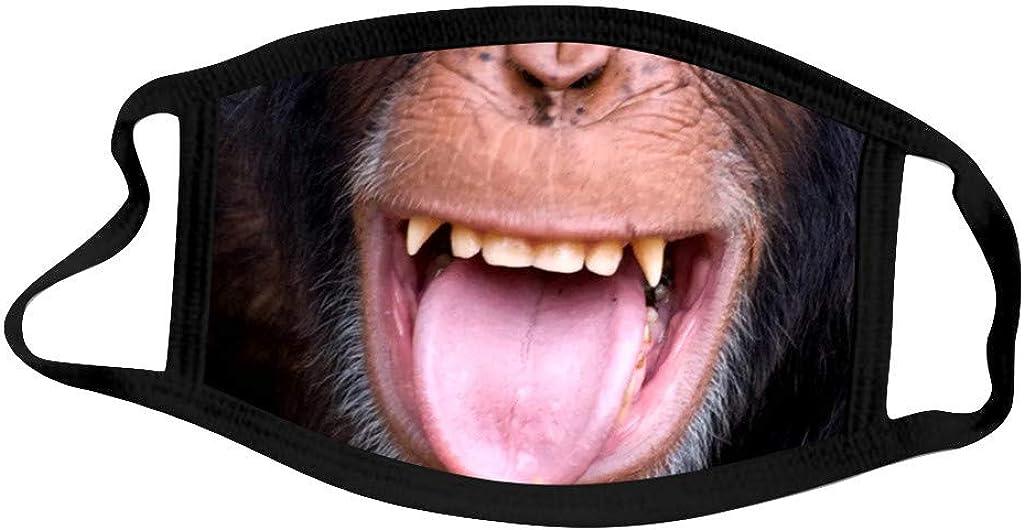 MEITING 1 St/ück Erwachsene Mundschutz mit Motiv Lustiger Gorilla-Druck Eisseidentuch Waschbar Atmungsaktiv Staubdichte Multifunktionstuch Wiederverwendbar Halstuch Sanft Bandana f/ür Herren Damen