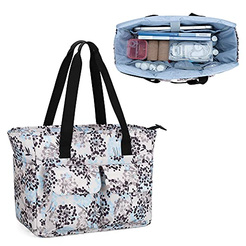 CURMIO Home Health Nurse Tote Bag, Medical Supplies Bag for Work with Padded Laptop Sleeve and Multiple Pockets for Nursing Students, Doctors, Dandelion