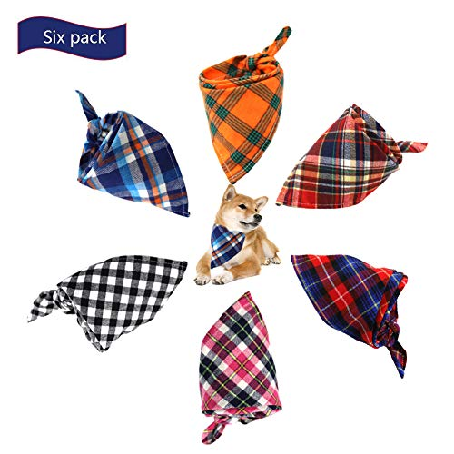 Albabara Dog Bandana Pet Adjustable Triangle Bibs Muliti Colors Scarf Cute Plaid Pure Soft Cotton Kerchief Set Accessaries for Small Medium Dogs Cats Pets, Machine Washable 6 Pack Review