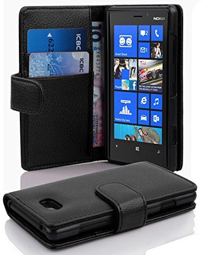 Cadorabo Hülle für Nokia Lumia 820 in Oxid SCHWARZ – Handyhülle aus Strukturiertem Kunstleder mit Standfunktion & Kartenfach – Hülle Cover Schutzhülle Etui Tasche Book Klapp Style