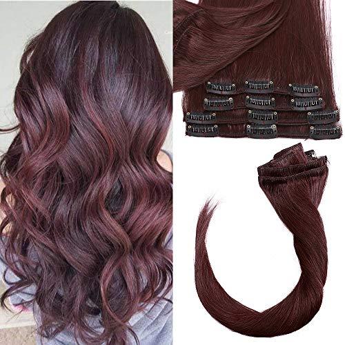 Clip in Extensions Echthaar Haarteile Echthaar Weich Haarverlängerung 8 Teilig 18 Clips 7A Remy Hair 55cm-75g 99J# Weinrot