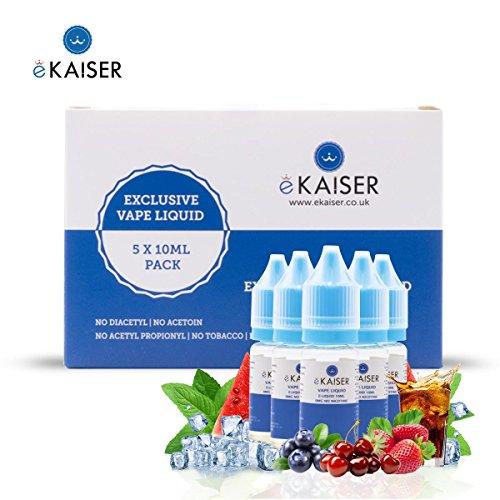EKaiser 5er Pack E Liquid, Fruit Mints, 5 x 10ml Flaschen mit 0mg E-Liquid, Nikotinfreies eJuice für E-Zigaretten und Eshisa - Blaubeere Minze, Beere Minze, Eis-Erdbeere, Eis-Cola, Eis-Wassermelone