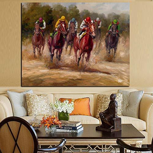 Tier Pferderennen Ölgemälde auf Leinwand Abstrakt Modern Pop Art Wandbild für Wohnzimmer Dekoration Rahmenlos A 60x80CM