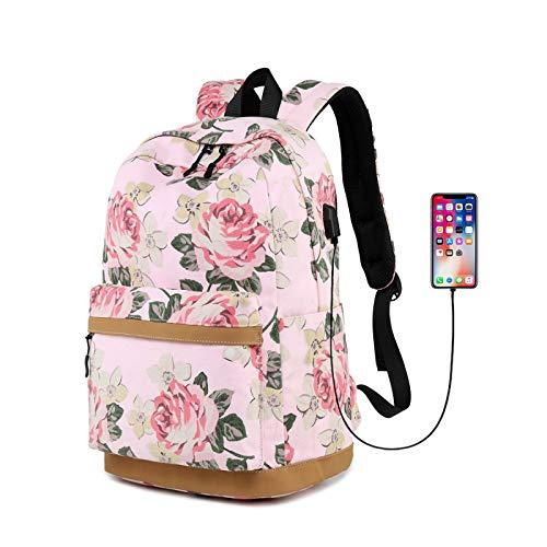 Floral backpack, Laptop Backpack,Waterproof Fashion Printed School Backpackfor Girl Cute Laptop Backpack, With USB Charging Port, Waterproof casual backpack Women/Travel/Business