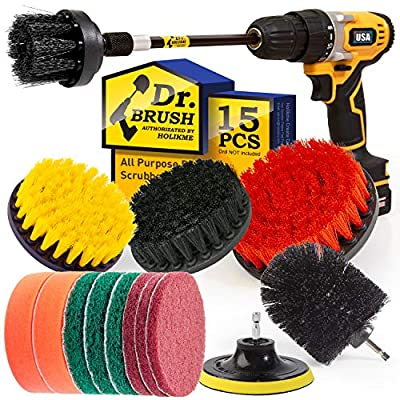 Holikme 15Piece Drill Brush Attachments Set, Scrub Pads & Sponge,Buffing Pads?Power Scrubber Brush with Extend Long Attachment?Car Polishing Pad Kit