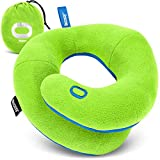 BCOZZY Kids Chin Supporting Travel Pillow for 3-7 Y/O -Stops The Head from Falling Forward– Comfortable Road Trip Essential. Soft, Washable, Small Size, Green