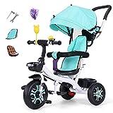 Triciclos 3 en 1 triciclos para niños de 12 meses a 5 años Se puede ajustar el asiento trasero Atrás triciclo para niños Altura ajustable Manillar Plegable Sol Canopy Trike para niños Peso máximo 25 k