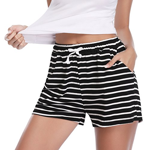 Aibrou Pantalones de Pijama Corto para Mujer Pantalon de Algodón Verano a Rayas