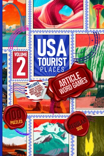 USA Tourist Places Article Word Games Volume 2: Regular Size Puzzle Game For Travel Tourism Lover Includes Word Search Word Scramble Missing Vowel ... Like Niagara Falls Las Vegas Monument Valley
