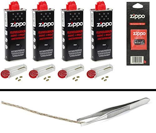 Zippo Zubehör Set 1: 4X Benzin, 4x6 Feuersteine, 1x Docht + Pinzette