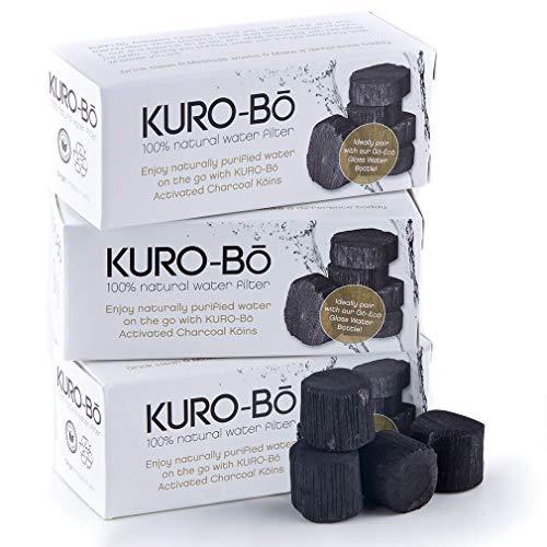 KURO-BΩ Binchotan Kohlewasserfilter Koins für Wasserflasche bis 1 Liter 3er-Pack