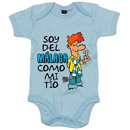 Body bebé soy del Málaga como mi tío Jorge Crespo Cano - Celeste, 12-18 meses