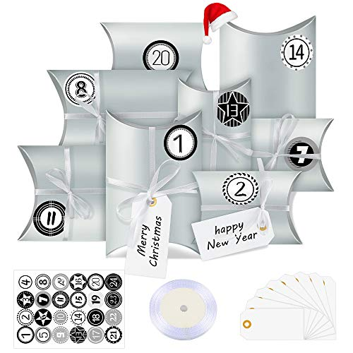 Adventskalender zum Befüllen, 24 Adventskalender Boxen, mit Zahlenaufklebern, für Weihnachten zum Basteln und Verzieren, Weihnachts-Geschenktüte zum DIY