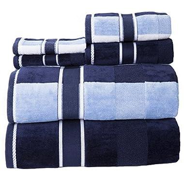 Lavish Home 100Percent Cotton Oakville Velour 6Piece Towel Set - Navy