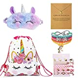 Qiuseadu Unicorn Gifts for Girls Unicorn Drawstring Backpack, Sleep Mask, Unicorn Necklace Bracelet, Hair Ties
