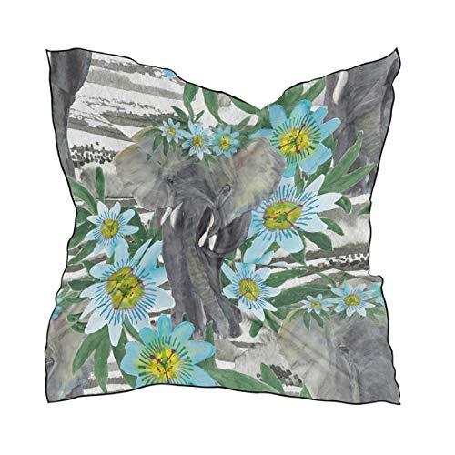QMIN - Bufanda cuadrada de seda, con diseño de elefante, pasión, flores, pañuelo de pelo, diademas para el cuello, para mujer, 60 x 60 cm