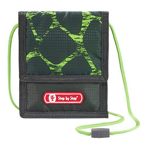 """Step by Step Brustbeutel """"Dino Life"""", schwarz-grün, mit Sichtfenster, Münzfach mit Reißverschluss, Schlüsselbefestigung, zum Umhängen, für Jungen ab der 1. Klasse"""
