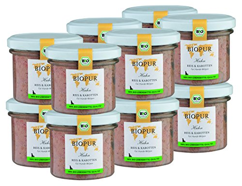 BIOPUR Bio Hundefutter Huhn, Reis & Karotten für Hunde-Welpen 12x100g