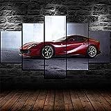 IKDBMUE Cuadro en Lienzo Red 812 Superfast Sports Car 5 Piezas - Impresión en Lienzo - Ancho: 200cm, Altura: 100cm - Listo para Colgar - en un Marco
