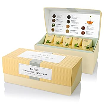 Tea Forte Tea Tasting Assortment Presentation Box Tea Sampler Gift Set 20 Assorted Variety Handcrafted Pyramid Tea Infuser Bags - Black Tea White Tea Green Tea Herbal Tea