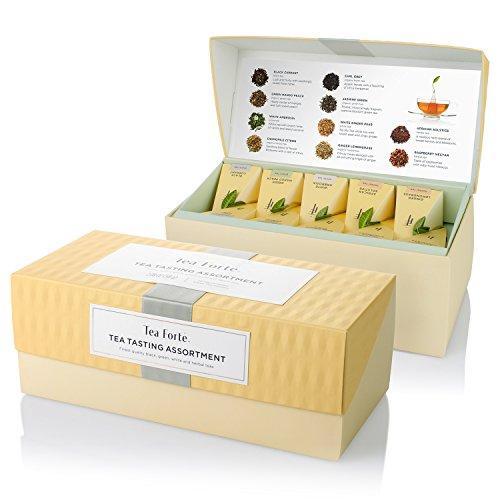 Tea Forte Campionario da degustazione con tè assortiti, 20 bustine piramidali realizzate a mano – Tè nero, tè bianco, tè verde, tè alle erbe