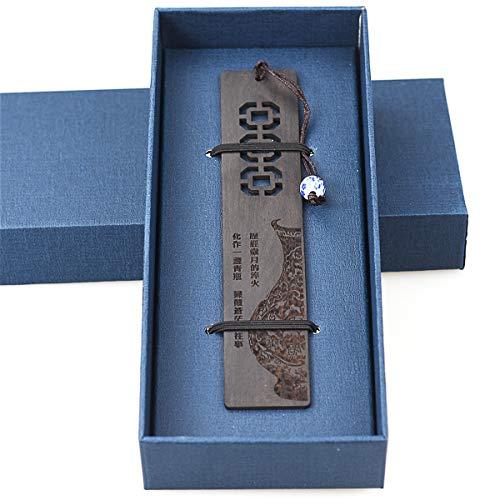 Marcadores de madera 1pcs, Marcador de madera natural hecho a mano con cuentas personalizadas para mujeres Hombres Diccionario para niños con caja de regalo - Negro Mullion