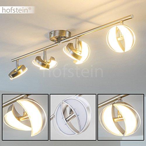 LED Deckenleuchte Quinte, Deckenlampe in Nickel-matt, 8-flammig, mit verstellbaren Lampenschirmen, je 2,6 Watt, 2000 Lumen (insgesamt), Lichtfarbe 3000 Kelvin (warmweiß)