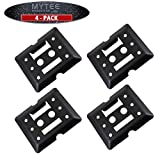 E-Track Tie Down Mini Trailer Plates 6' x 5', 2 Etrack & 2 F Track Slots Heavy Duty Black Steel, Bolt-on Etracks Cargo Tie-Downs for Trucks, Vans, Trailers, Boats (4 Pack)