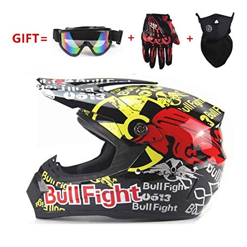 CPDZ Motorradhelm Full Face Motocross Off-Road Racing Helm Outdoor Dirt Bike Helme Vier Jahreszeiten Universal Mit Handschuhe Schutzbrille Maske,Bull,XL
