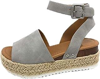 Frauit Sandalen voor dames, plateau, sleehak, open enkel, gesp, strandschoenen, riempjessandalen, grote sandalen, hennep, ...