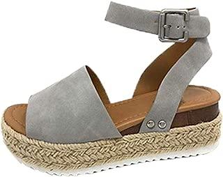 Women's Open Toe Espadrilles Platform Studded Wedge Buckle Ankle Adjustable Strap Sandals (US:8, Gray)