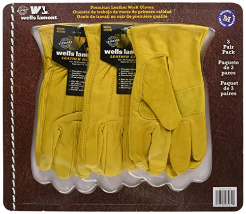 Wells Lamont 作業用革手袋3双セット 牛革使用
