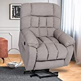 Power Lift Recliner Chair with Heat & Vibration, Massage Reclining Chairs for Elderly, Plush Fabric Heavy Duty Electric Sofa Home Living Room Chairs, Beige