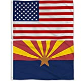 Aisto 2 Pieces 3x5 Feet Arizona State Flag and American Flag for Outdoor and Indoor Use -Made by 100% Polyester-Vivid Colors and UV Fade Resistant - Double Stitched with Two Brass Grommets.